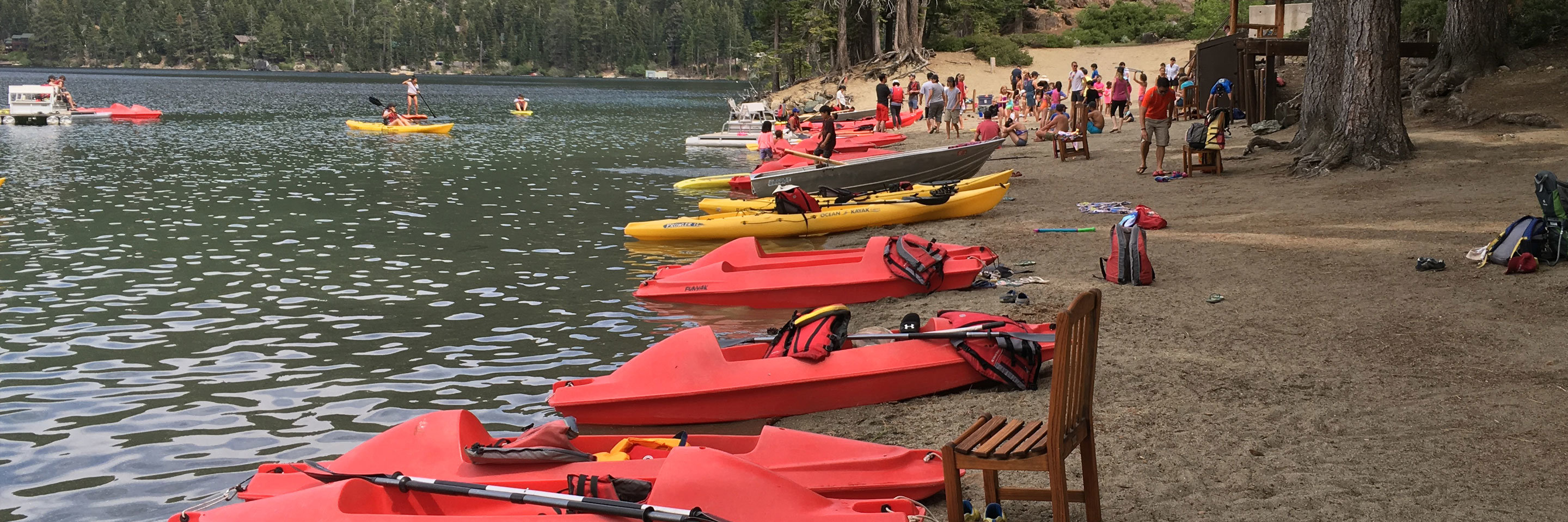 A row of kayaks laying on the beach next to a lake